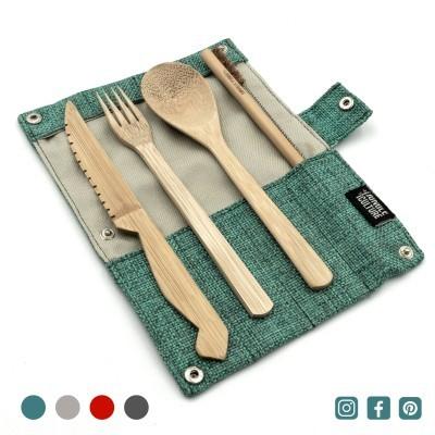 Bamboo Cutlery Set _ Marine / Azul