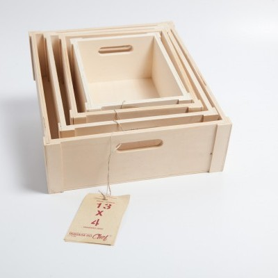 Caixas de Choupo, conjunto de 4, 13x5