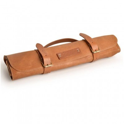 LEATHER KNIFE ROLL COGNAC 7 KNIVES
