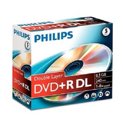 DVDR+ Philips Dual Layer (Caixa c/ 5)