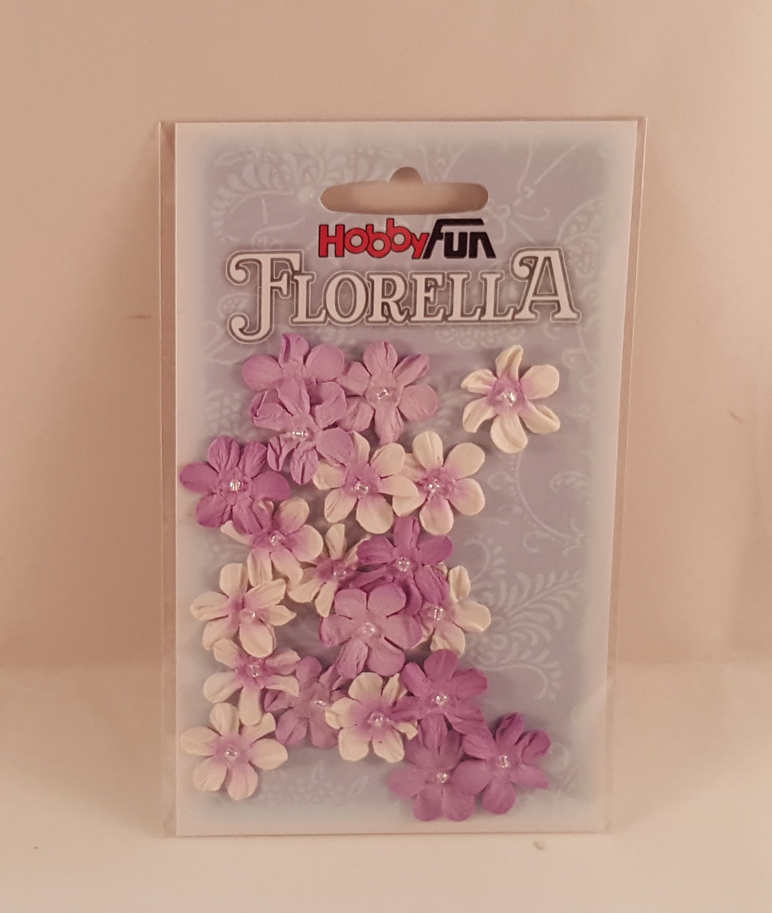 Flores de papel  lilases e brancas para scrapbooking