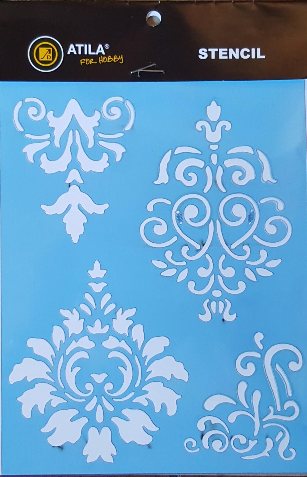 Stencil padrão arabescos  15x20cm