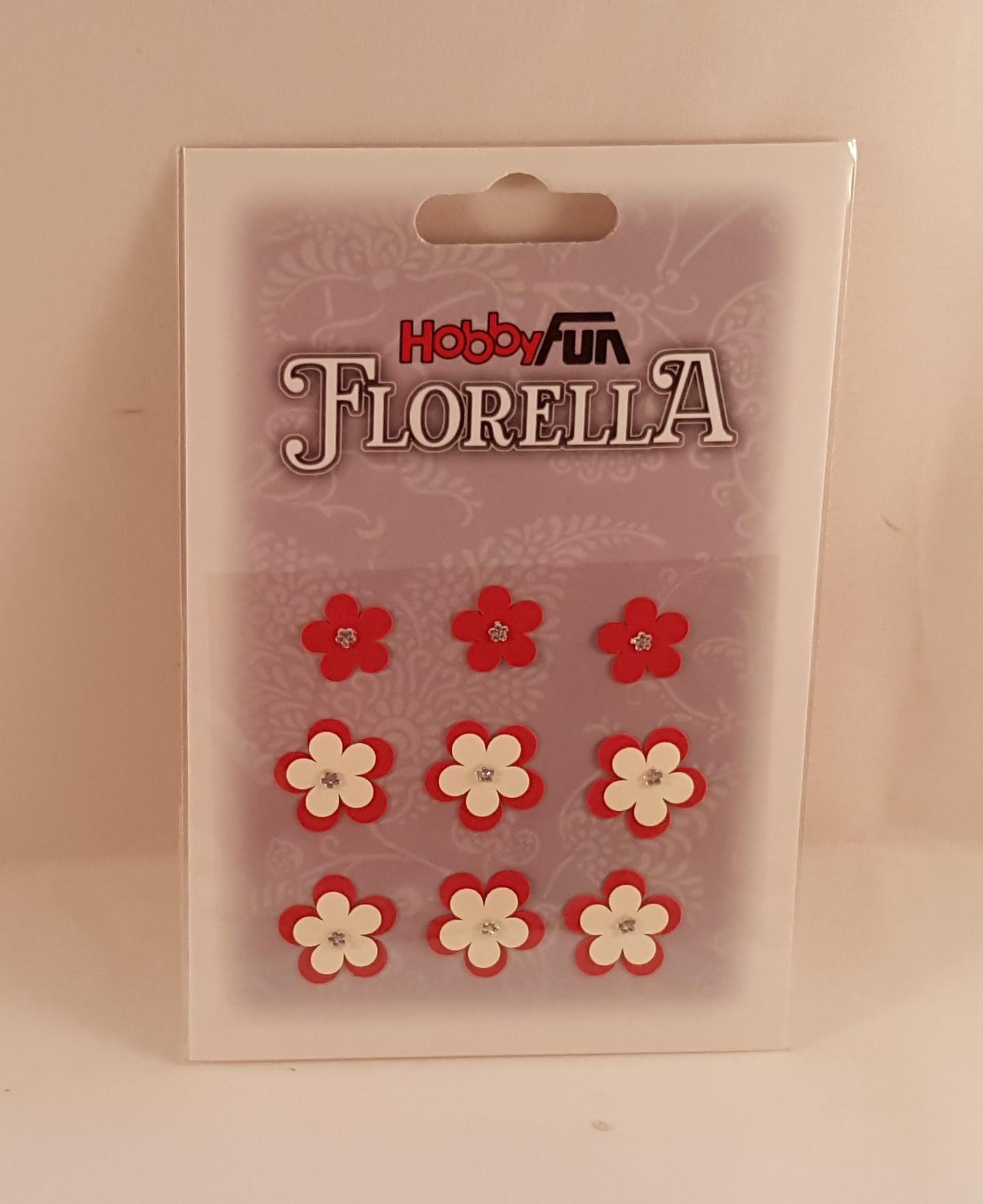 Flores de papel brancas e vermelhas pequenas 2 modelos  para scrapbooking