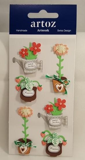 Aplicações scrapbooking - vasos com flores  Artoz Artwork