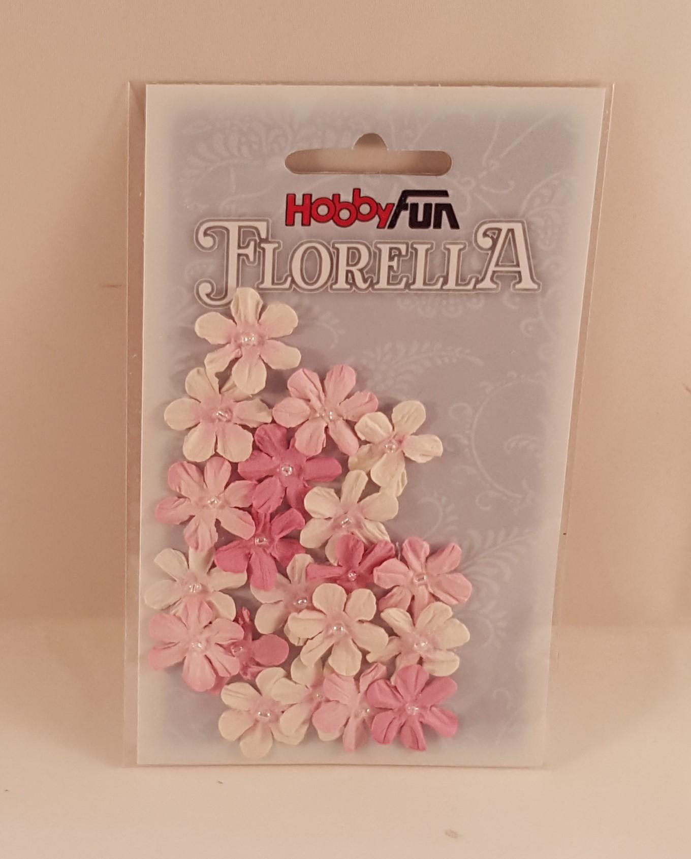 Flores de papel rosa e branco (muitas) para scrapbooking
