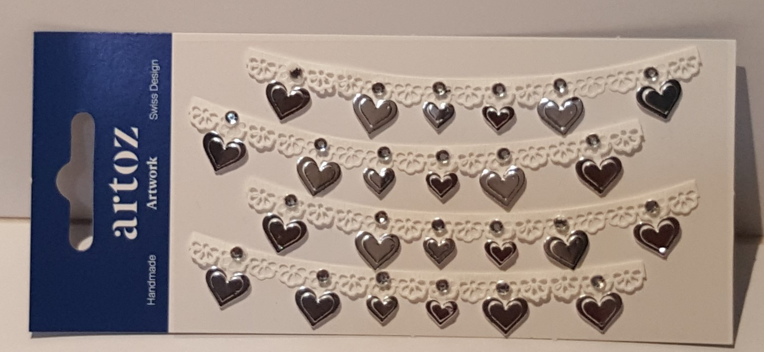 Aplicações scrapbooking - renda com corações prata Artoz Artwork