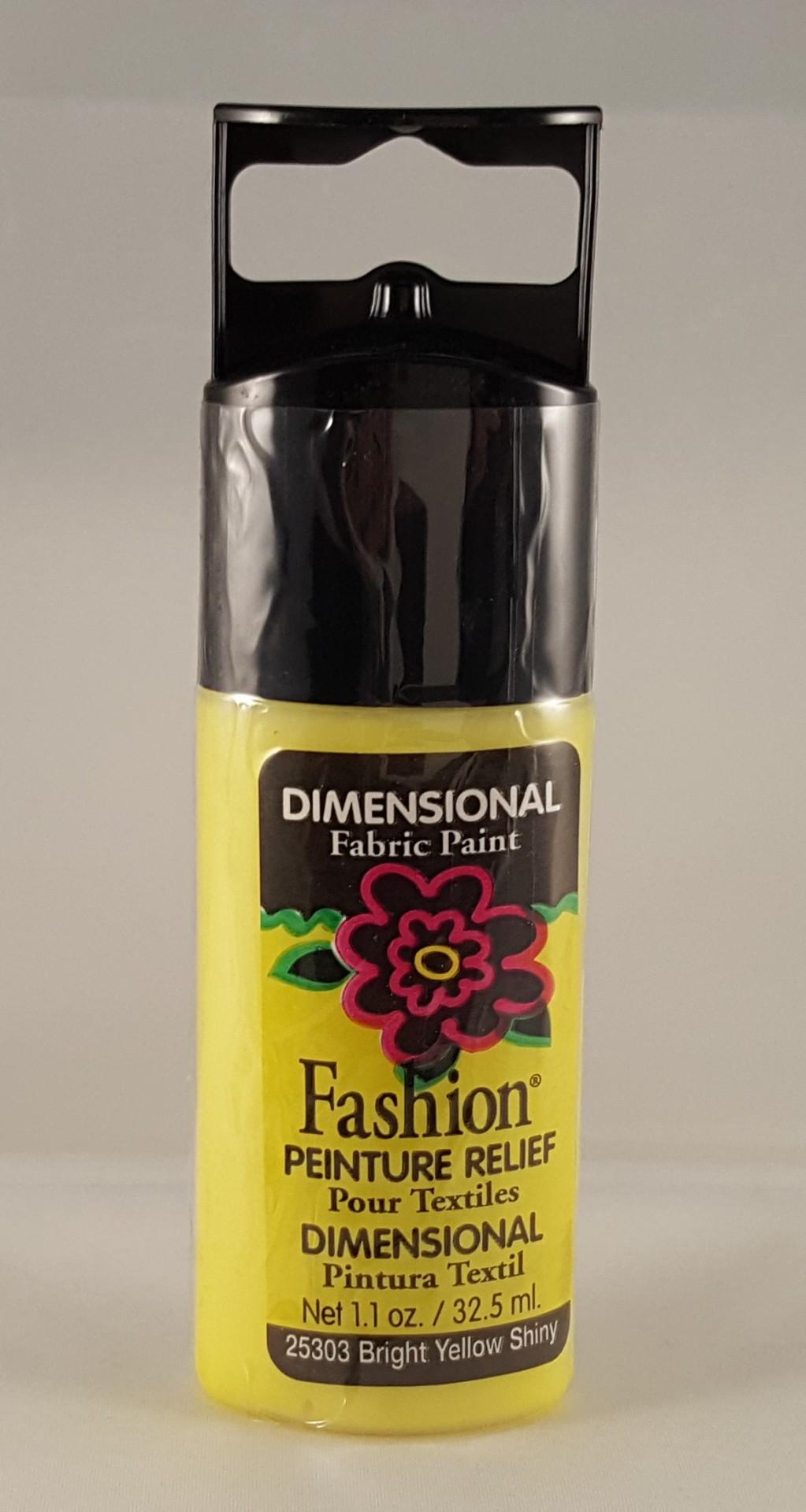 Tinta Dimensional para Tecido Fashion bright yellow shiny