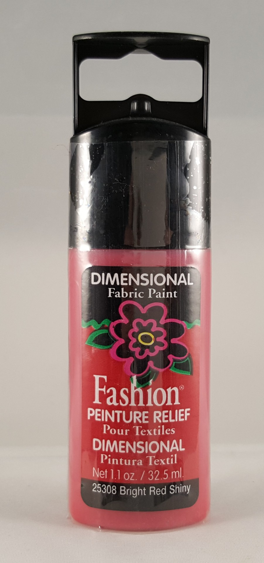 Tinta Dimensional para Tecido Fashion bright red shiny