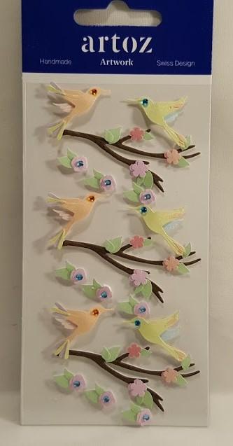 Aplicações scrapbooking - pássaros coloridos- Artoz Artwork