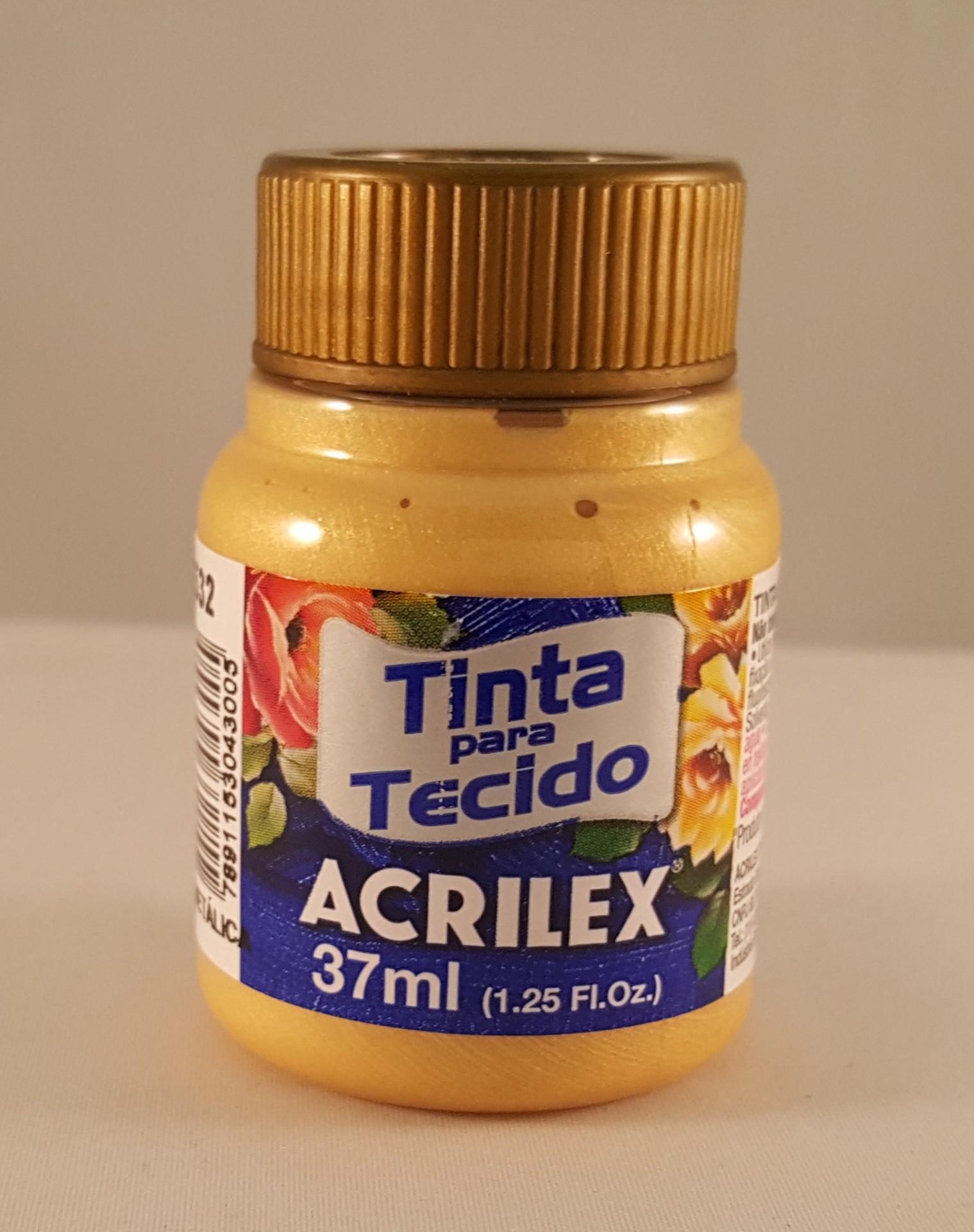 Tinta Tecido Acrilex metálica ouro 532