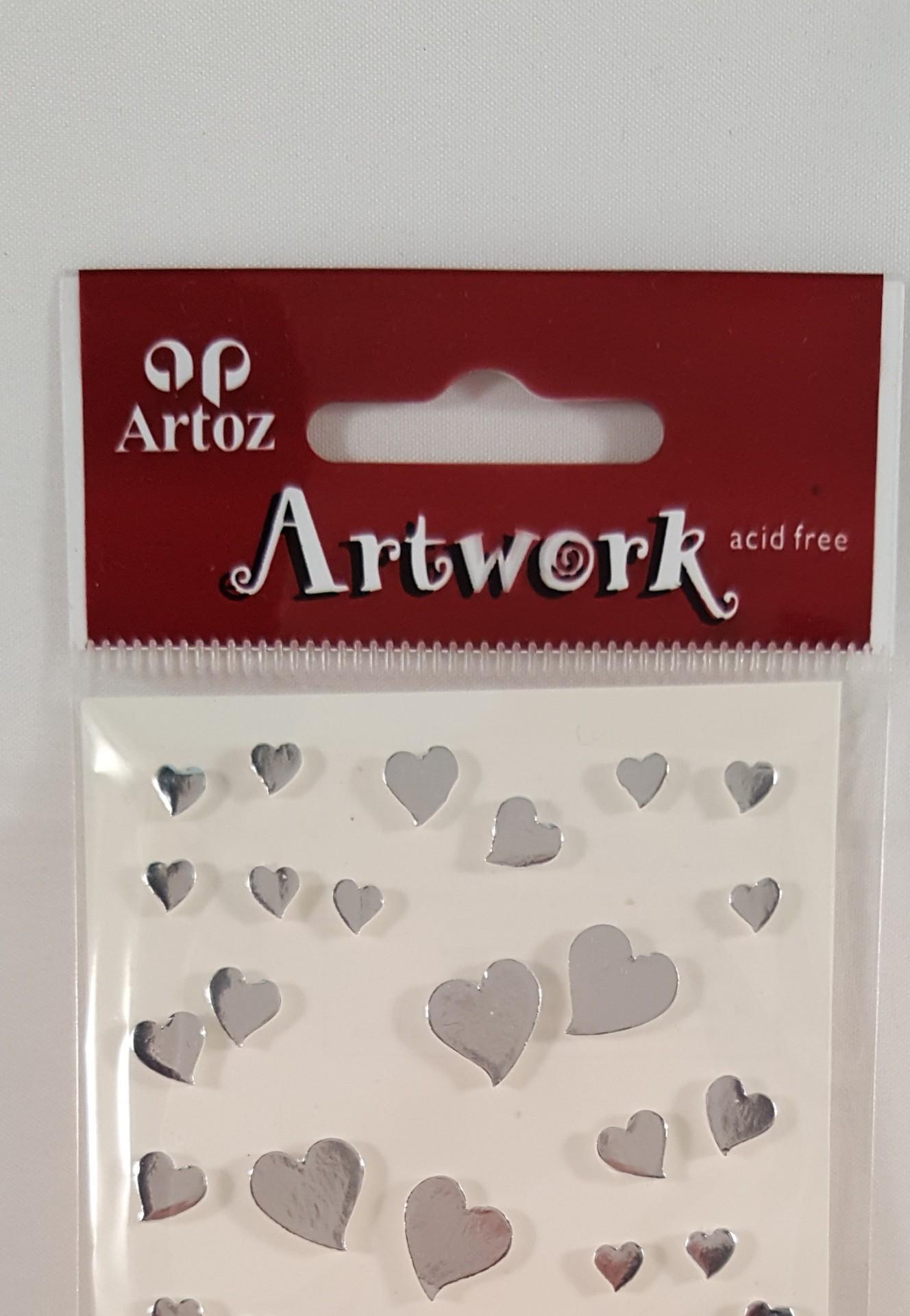 Aplicações scrapbooking - corações prata Artoz Artwork