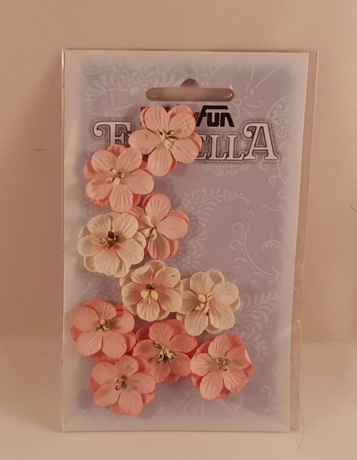 Flores de papelsalmão claro e branco para scrapbooking