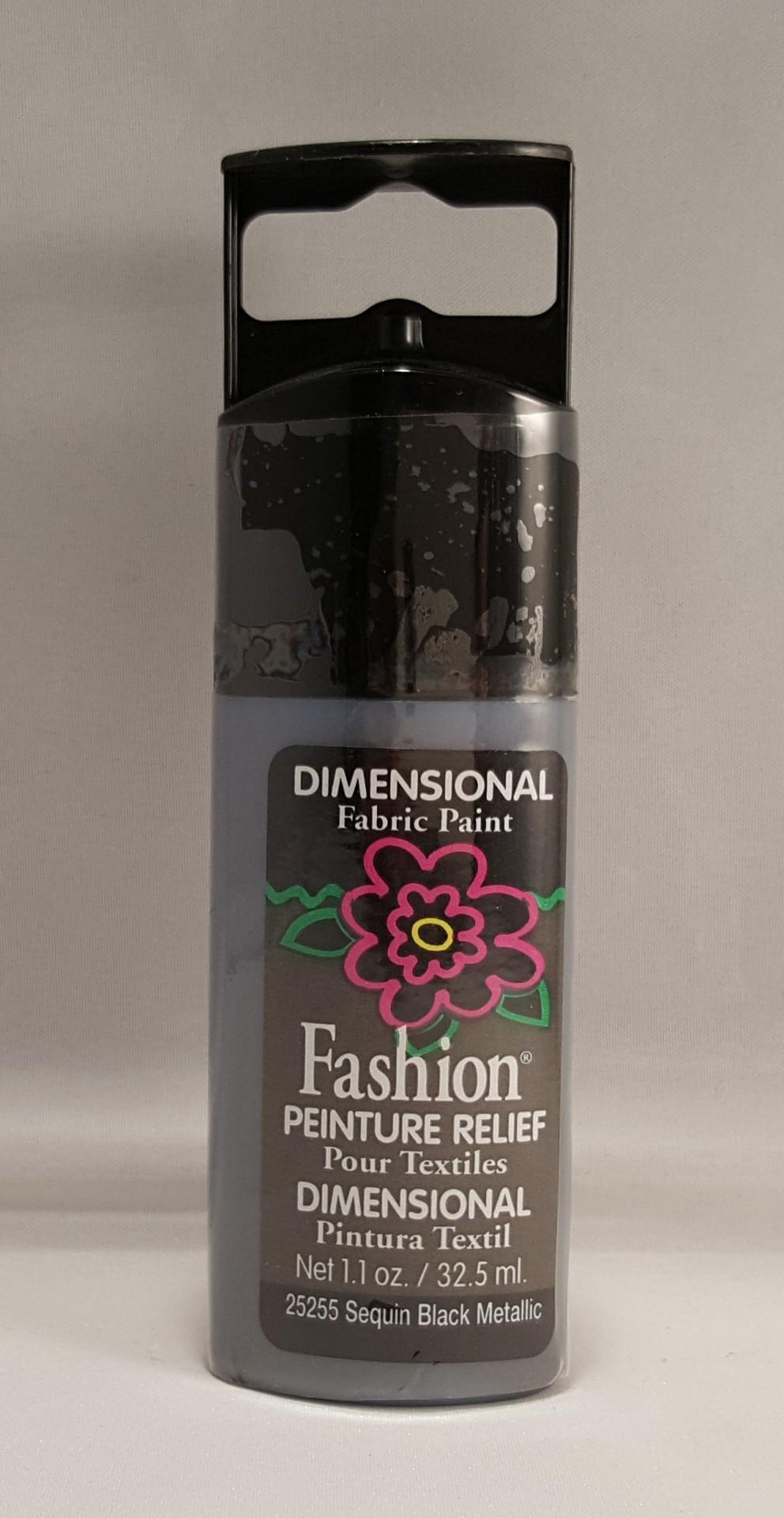 Tinta Dimensional para tecido Fashion black Metallic