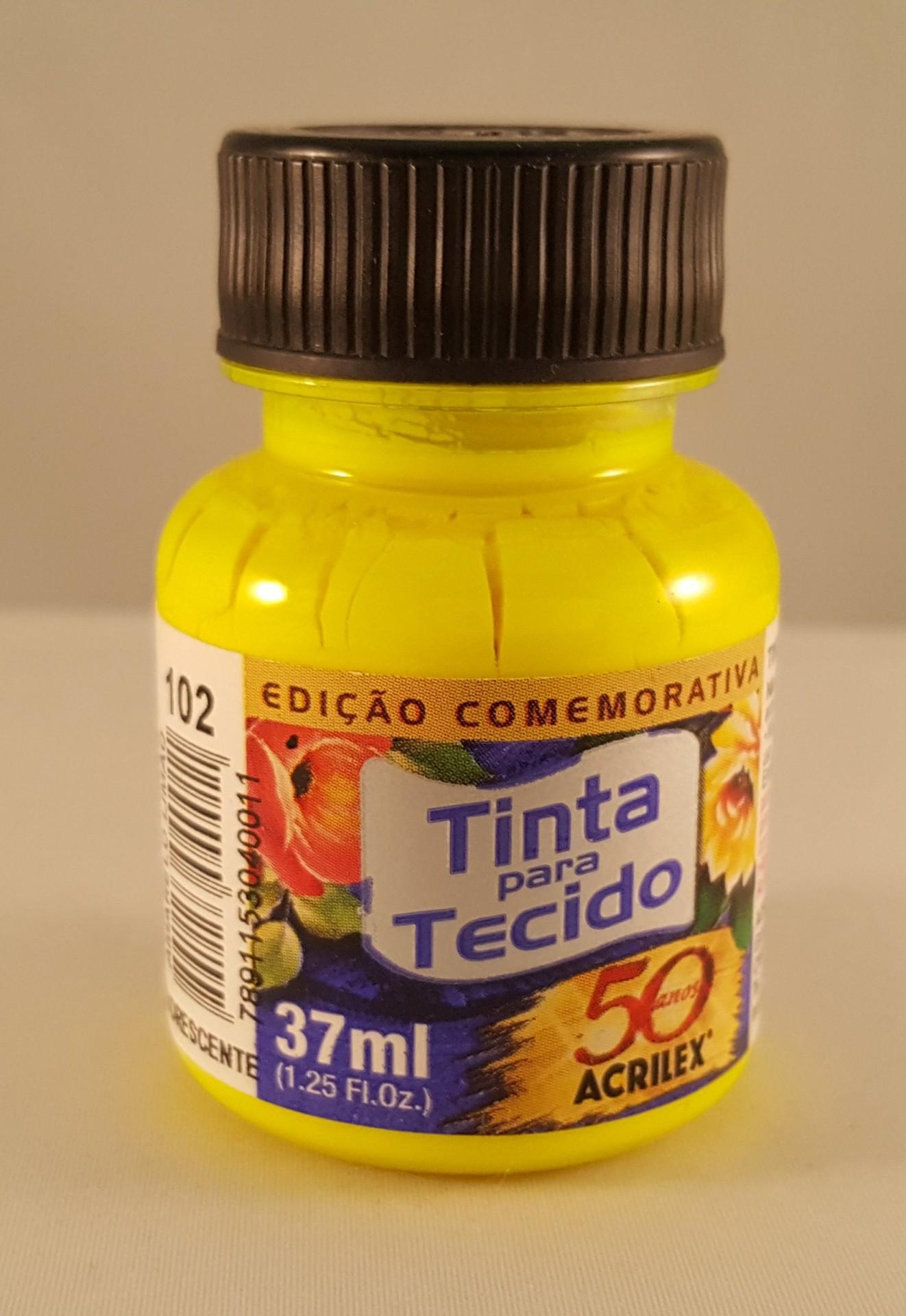 Tinta Tecido Acrilex fluorescente amarelo limão 102
