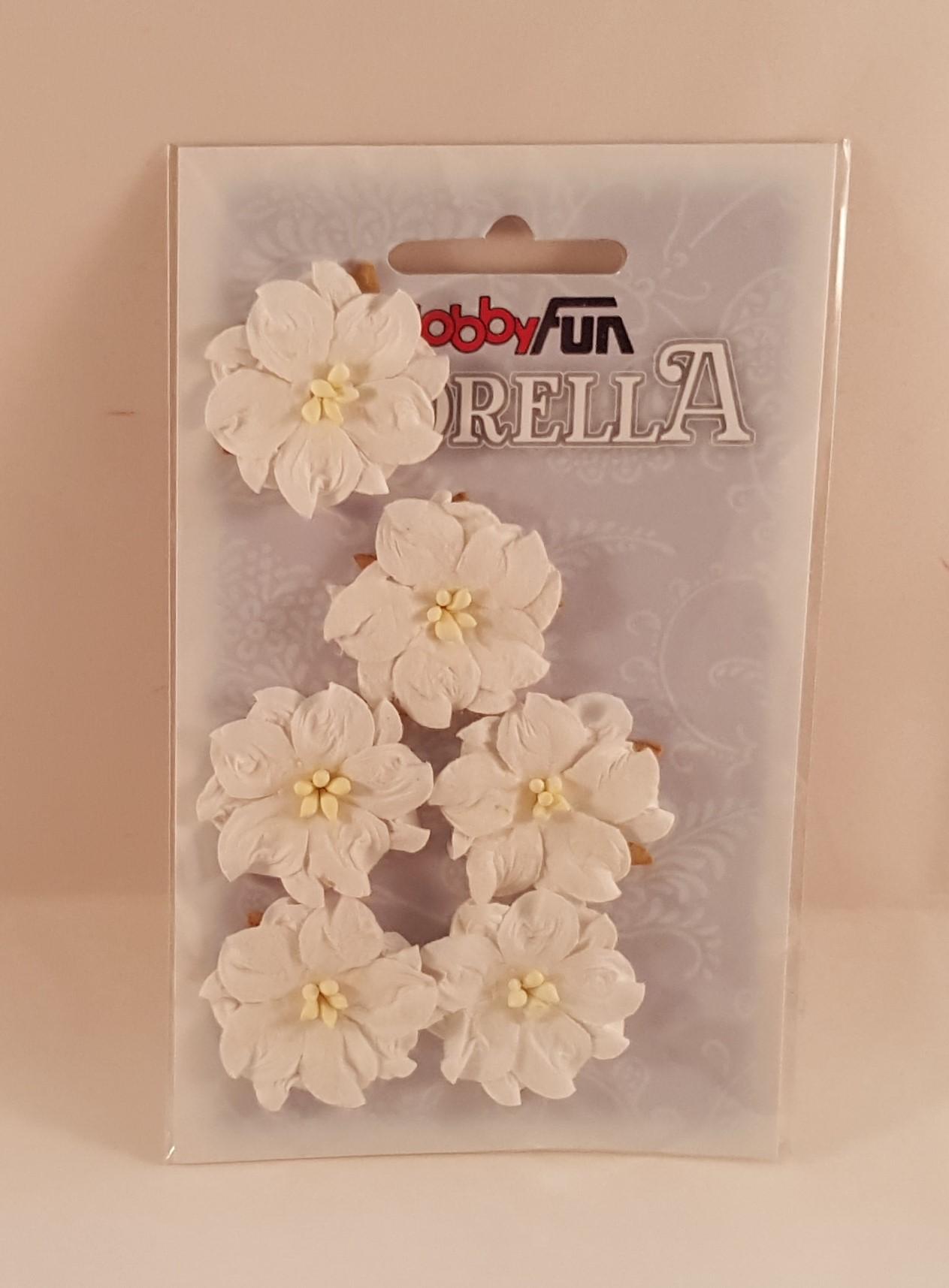 Flores de papel brancas para scrapbooking