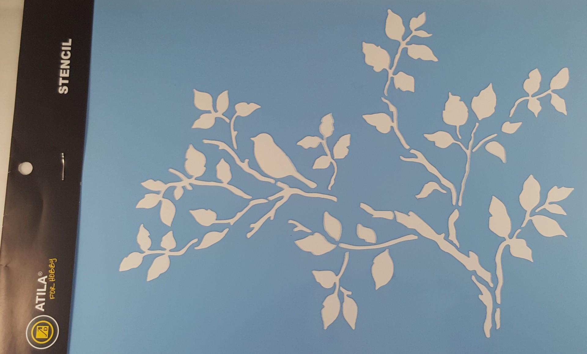 Stencil ramos e passarinhos 20x30 cm