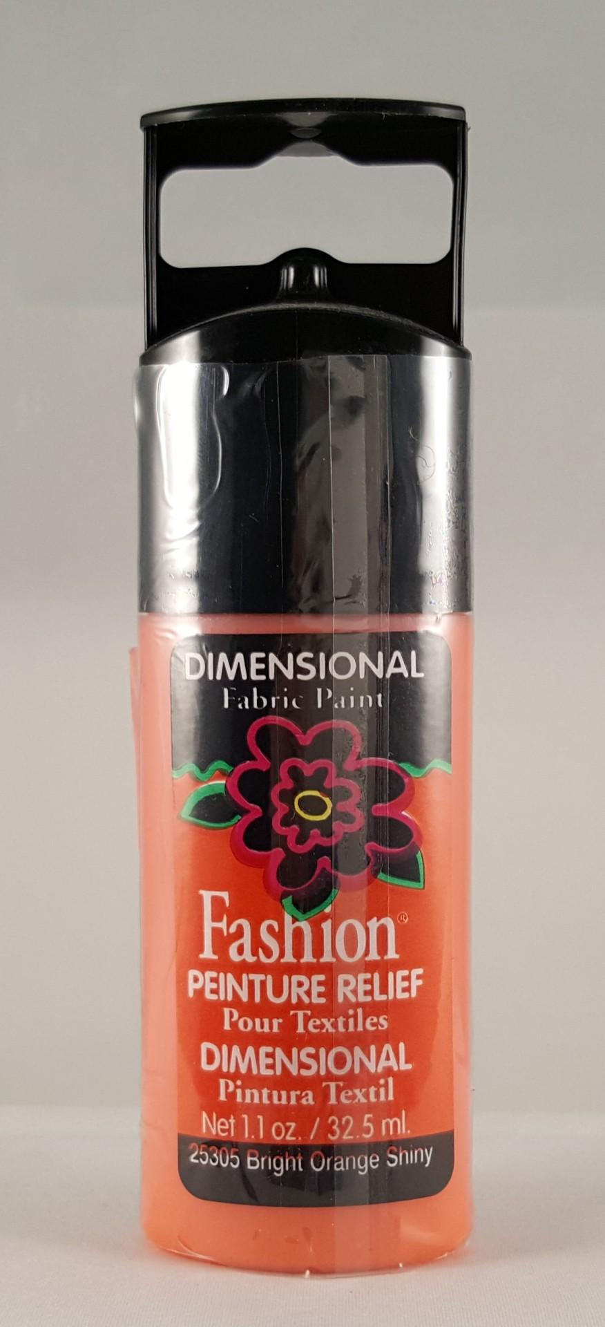 Tinta Dimensional para Tecido Fashion bright orange shiny
