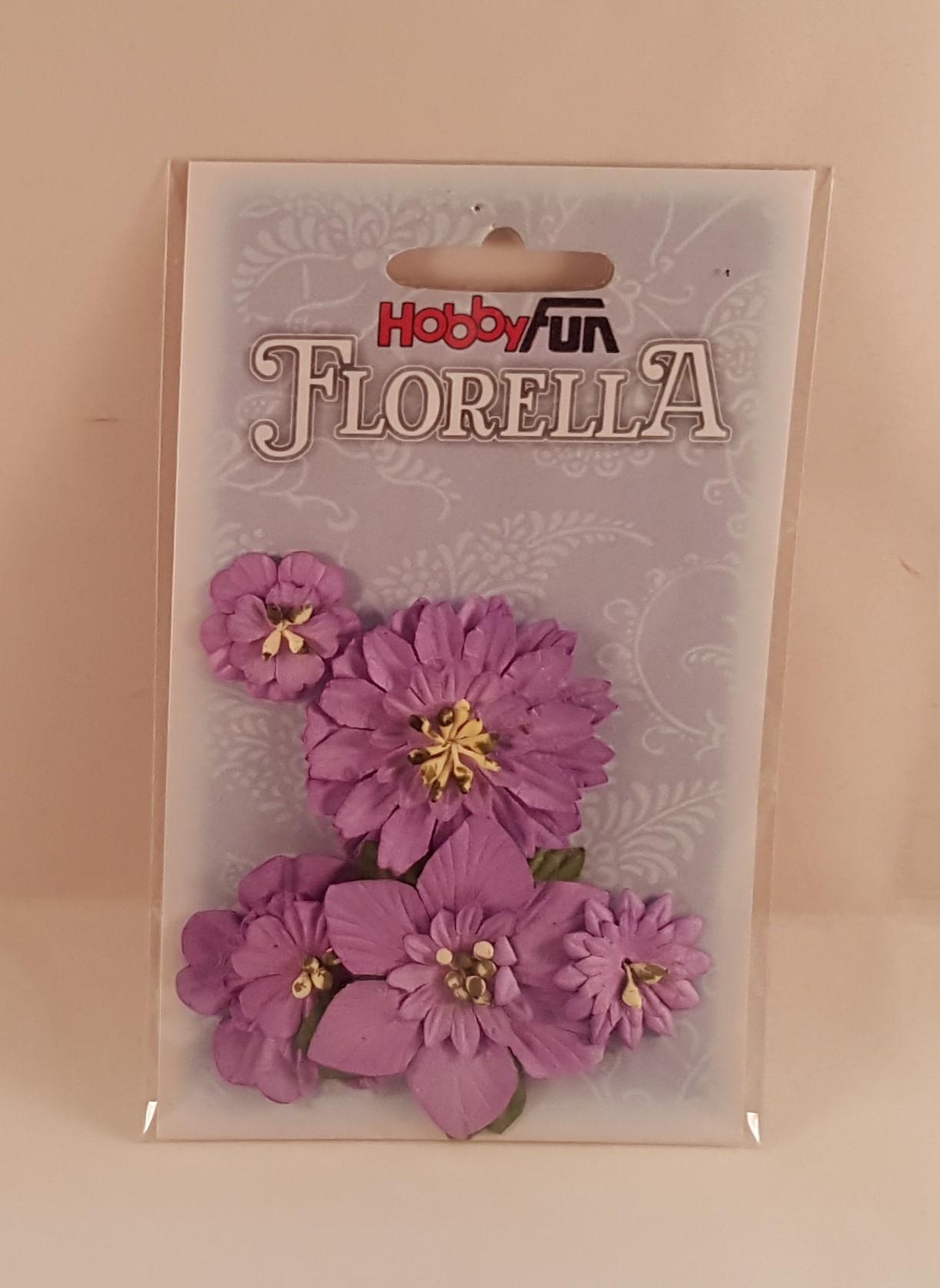 Flores de Papel cor lilás c folhas para scrapbooking