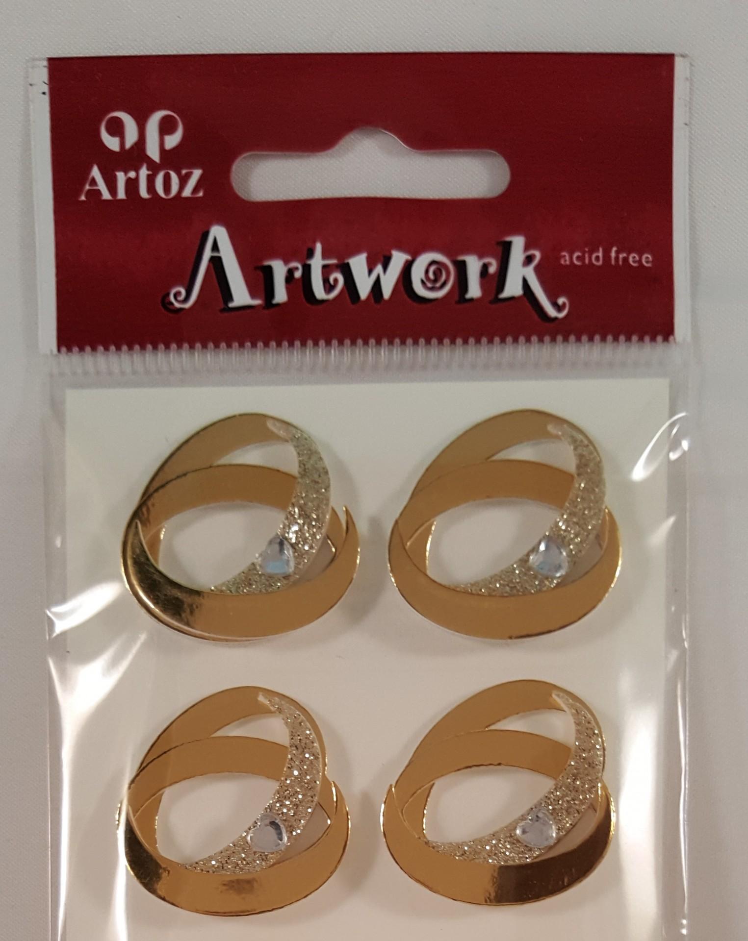 Aplicações scrapbooking - casamento alianças ouro  Artoz Artwork