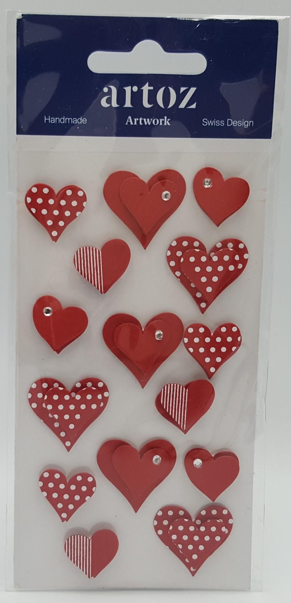 Aplicações scrapbooking - corações vermelhos