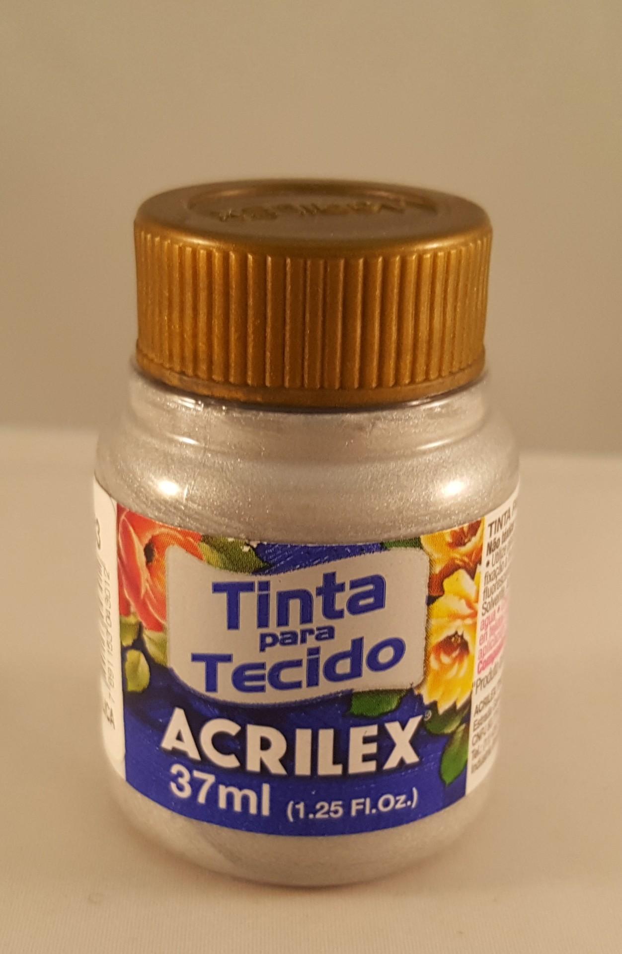 Tinta Tecido Acrilex metálica prata 533