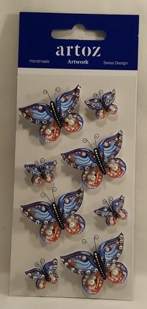 Aplicações scrapbooking - borboletas multicor- Artoz Artwork