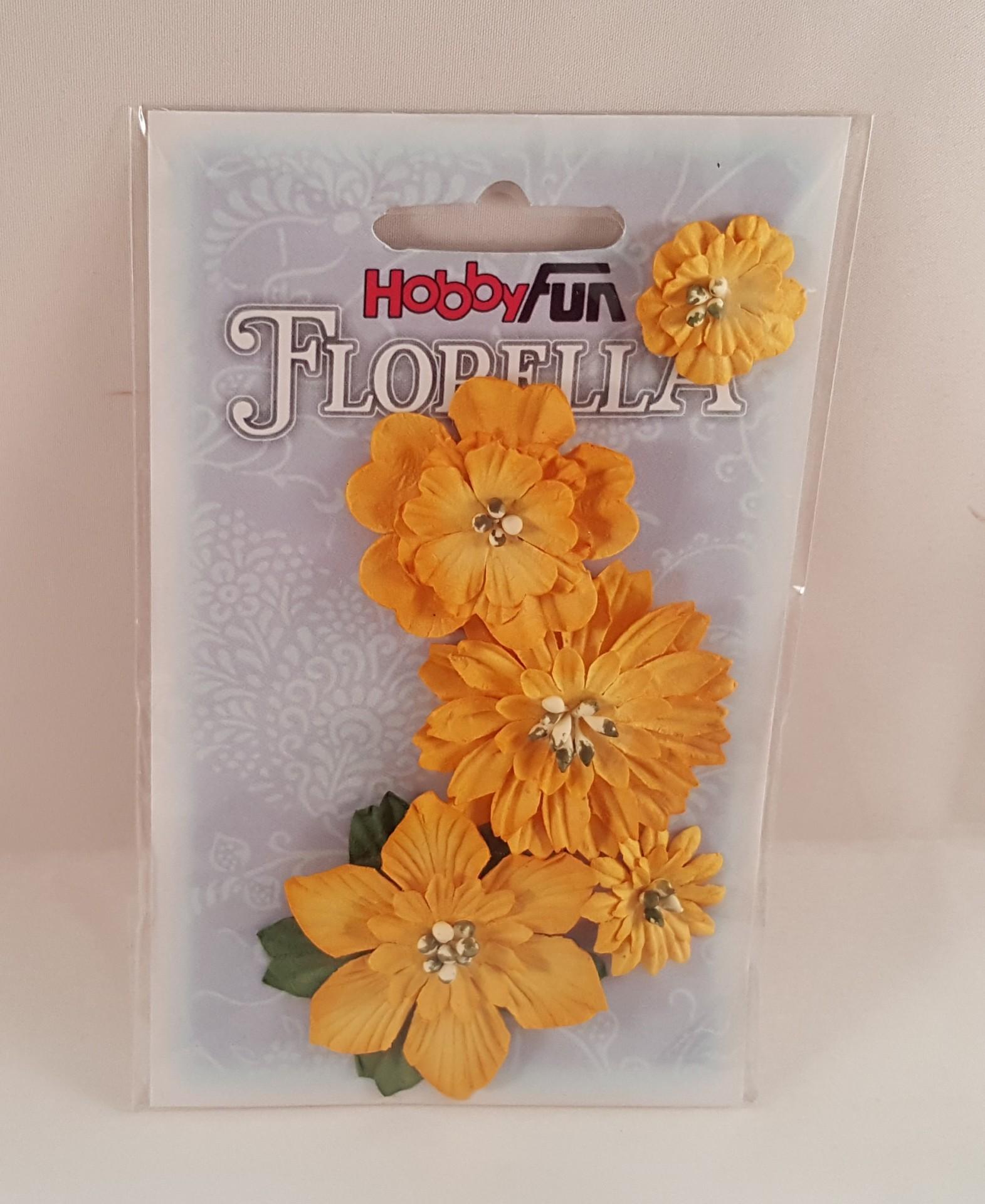 Flores de Papel amarelas c folhas para scrapbooking