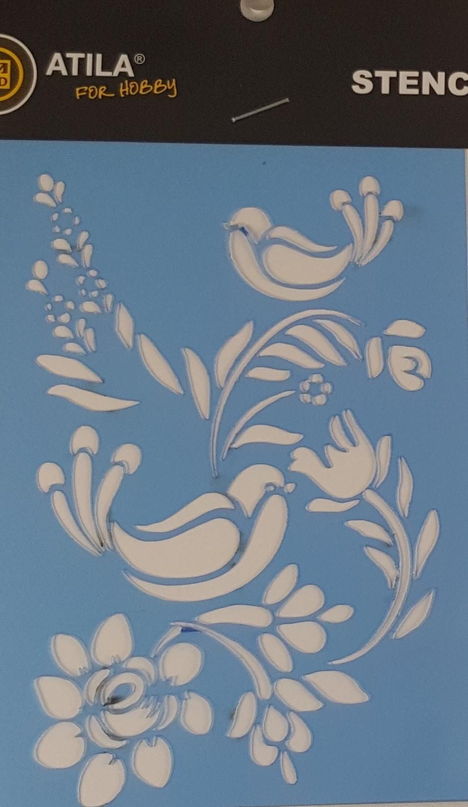 Stencil (passarinhos) arabescos e flores
