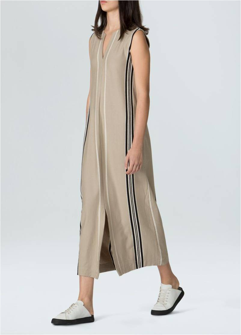 Vestido Midi Raw Stripe OSKLEN