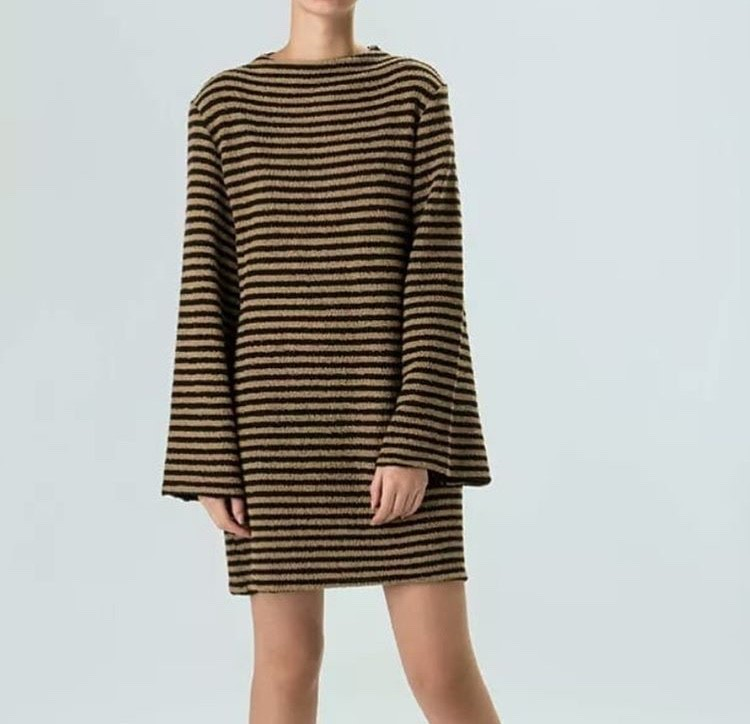 VESTIDO ML BASIC STRIPE DOUBLE OSKLEN