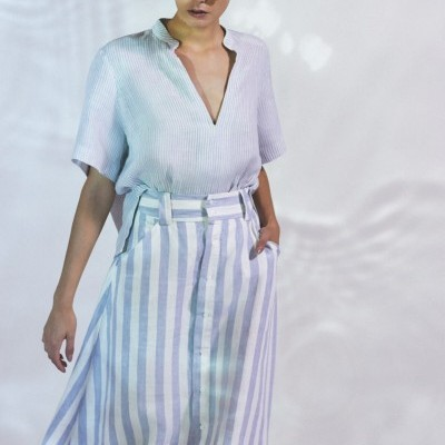 SAIA MIDI LINEN STRIPED OSKLEN