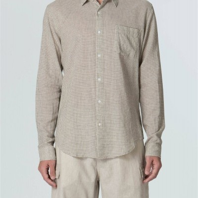 Camisa Masculina Cotton Linen Thin Plaid Ml
