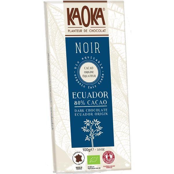 Tablete de Chocolate Preto Equador 80% Cacau Bio Fair Trade - 100g Kaoka
