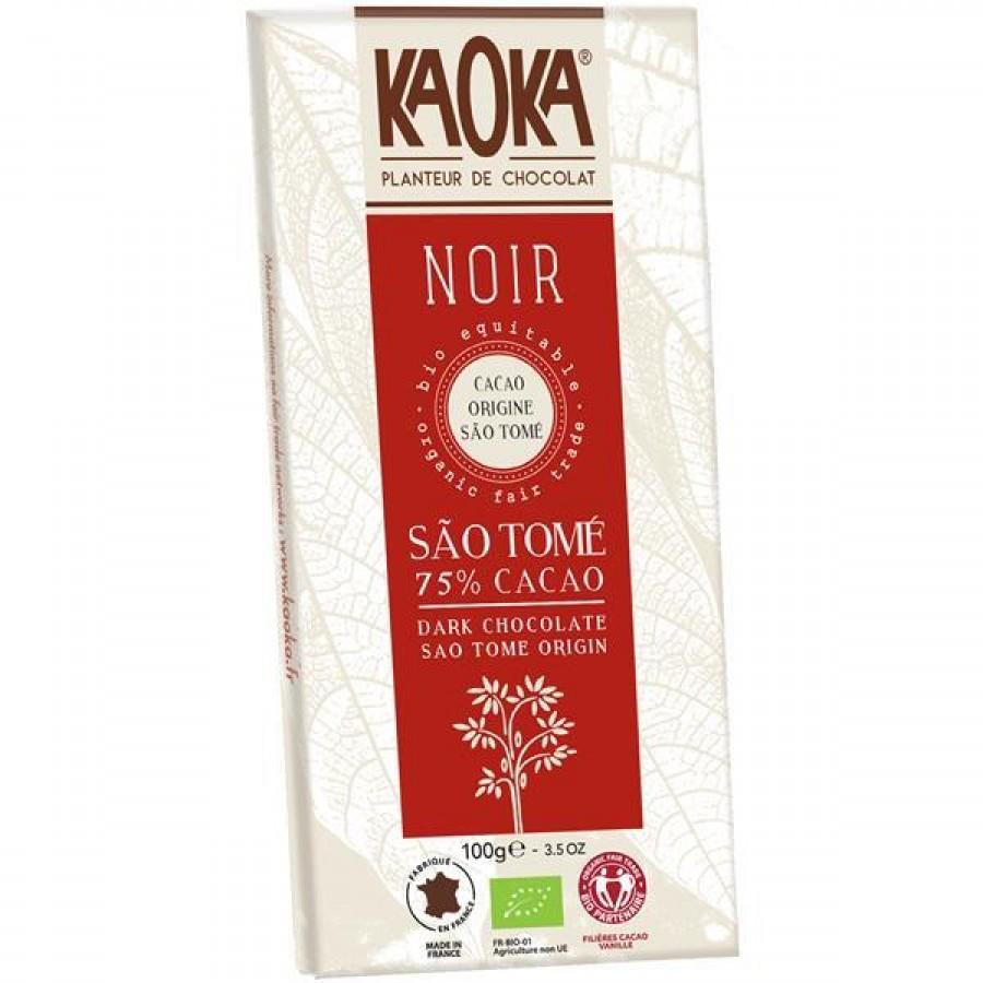 Tablete de Chocolate Preto São Tomé 75% Cacau Bio Fair Trade - 100g Kaoka
