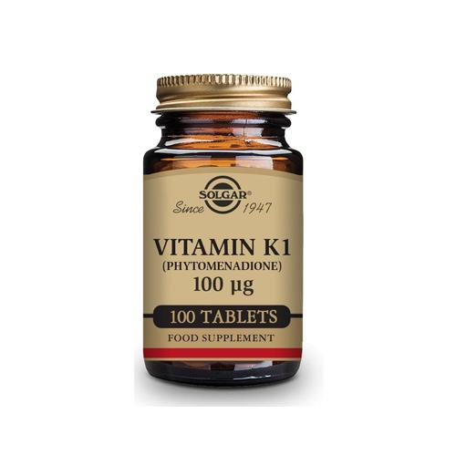 Vitamina K1 100ug - 100 Comprimidos Solgar