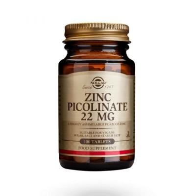 Picolinato de Zinco 22mg 100 Comprimidos Solgar