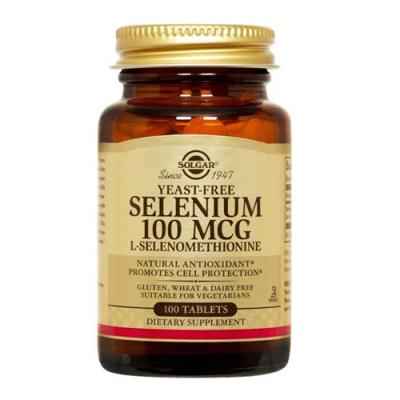 Selénio 100ug (Isento de Levedura)100 Comprimidos Solgar