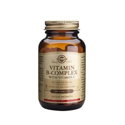 Vitamina Complexo B com Vitamina C - 100 Comprimidos Solgar
