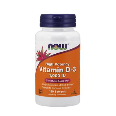 Vitamin D-3 1,000 IU 180 Cápsulas Now