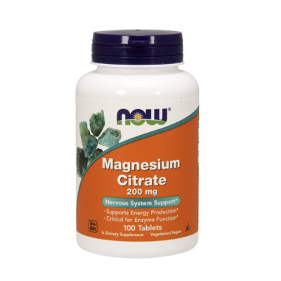 Magnesium Citrate 200mg 100 Comprimidos Now