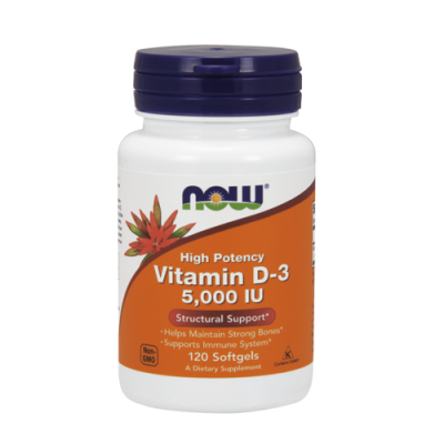 Vitamin D-3 5,000 IU 120 Cápsulas Now