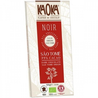 Tablete de Chocolate Preto São Tomé 75% Cacau Bio Fair Trade - 100g Kaoka