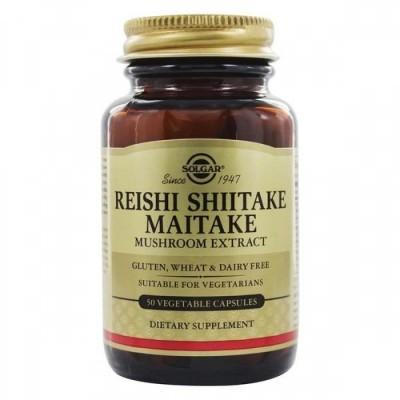Extrato Cogumelos Reishi, Shiitake e Maitake 50 Cápsulas Solgar