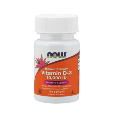 Vitamin D-3 10,000 IU 120 Cápsulas Now