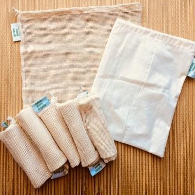 Saco de compras em algodão orgânico/produce mesh bag
