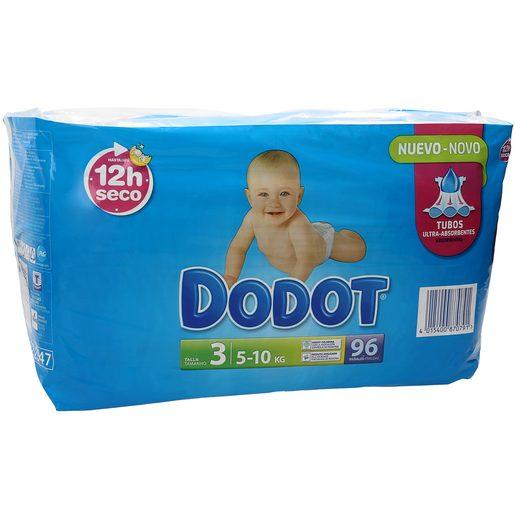 DODOT® Absorção 3D - Tamanho 3 (5-10Kg), 96 Fraldas