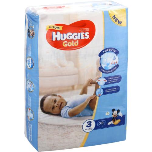 Huggies ® Gold Boy- Tamanho 3 (6 - 10 Kg), 72 Fraldas