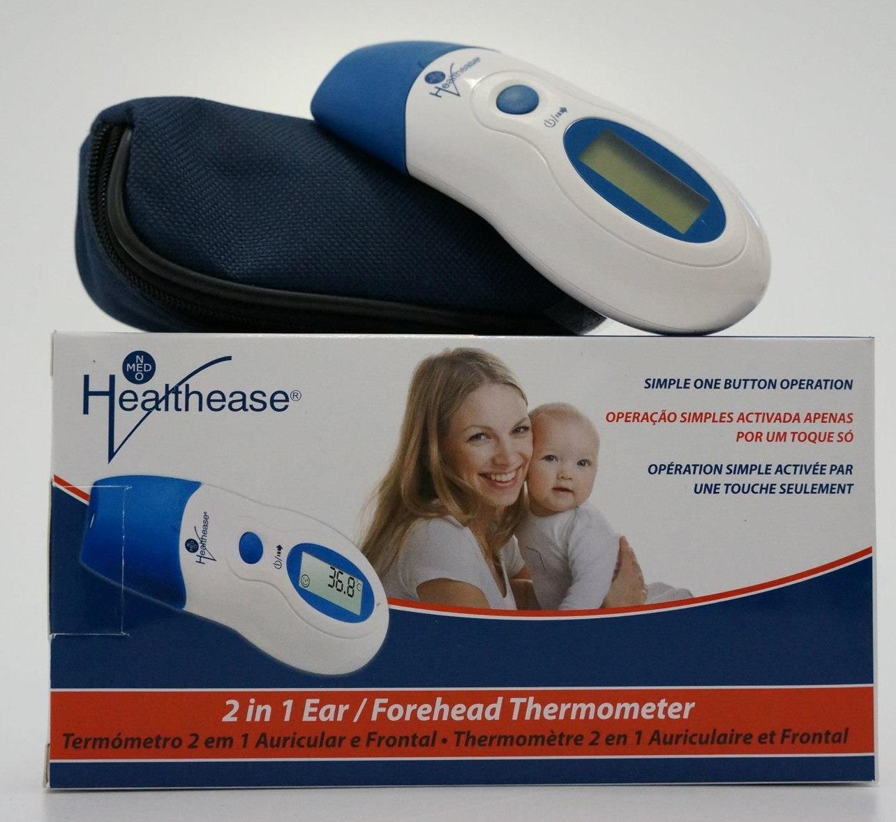 Healthease: Termómetro Digital de Infravermelhos 2 em 1 (Auricular e Frontal)