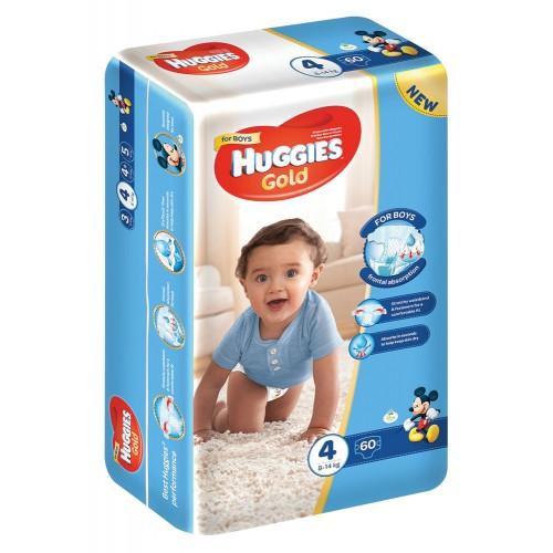 Huggies ® Gold Boy- Tamanho 4 (8 - 14 Kg), 60 Fraldas