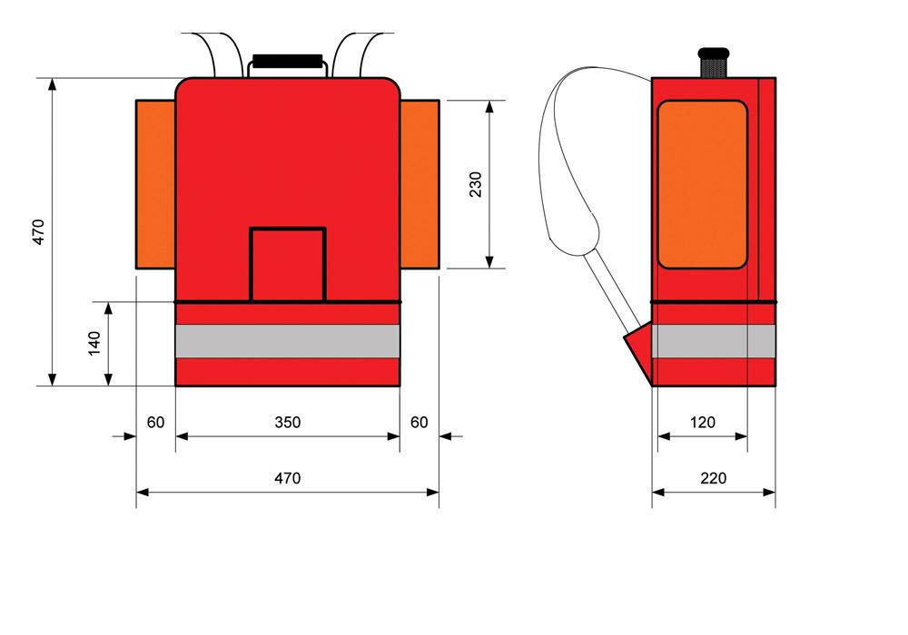 Mochila de emergência (Base Rígida)